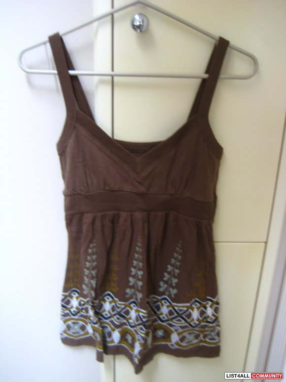 Brown Dress-Like Flower Print Tank Top