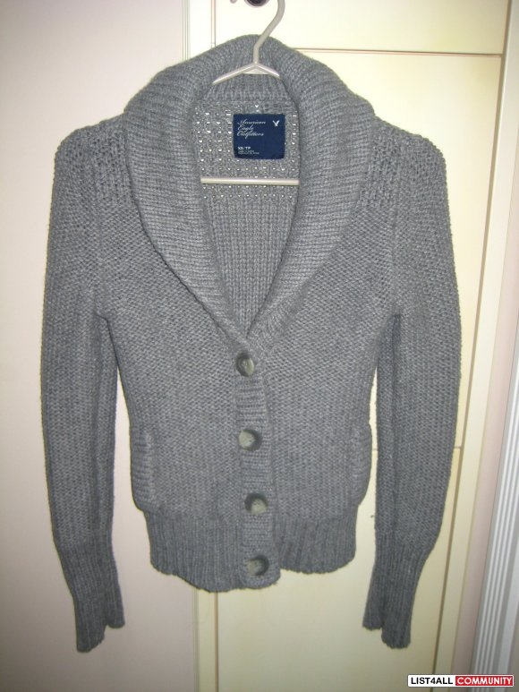 AE Grey Button Up Sweater
