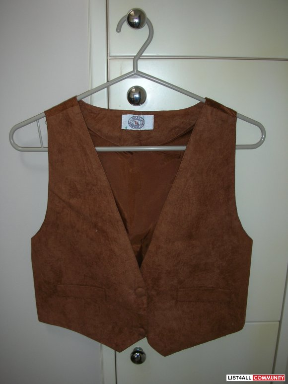 Suede Vest w/ Silk Back Cute Bow Design