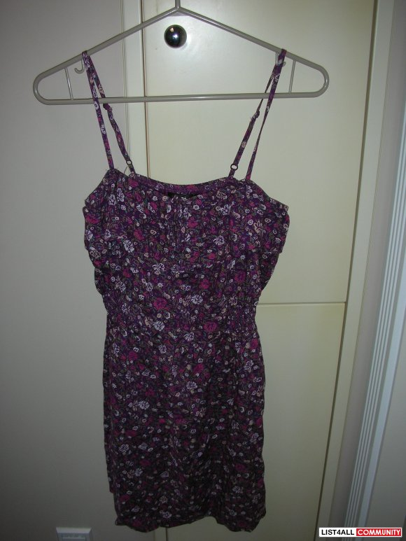 Flower Print Purple Dress