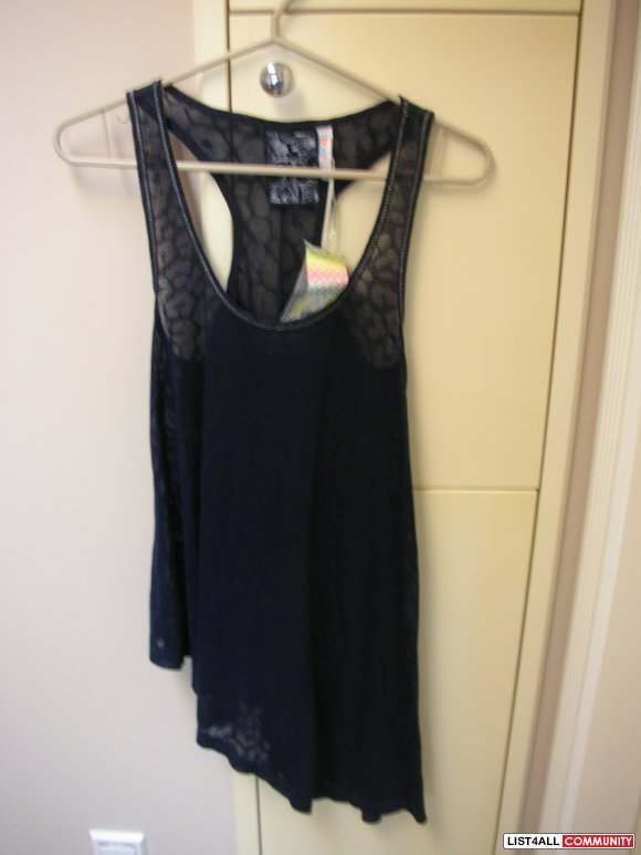 Brand New Denim Co Patterned Dark Navy Semi-Transparent Tank Top