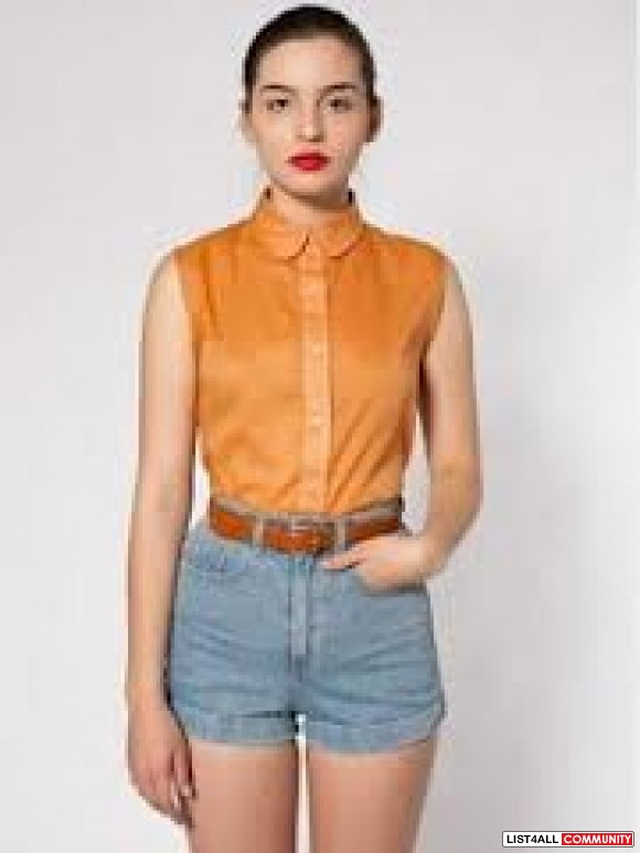 American Apparel Sleeveless Lawn Button Up