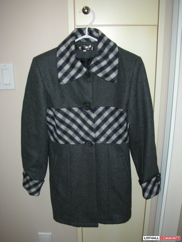 Brand New Grey Trench Coat w/ Checkered Pattern