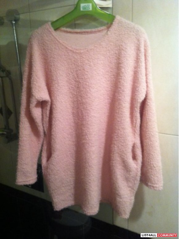 Fuzzy Pink Sweater w/ Pockets