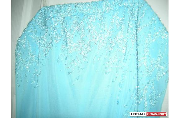 Beautiful aqua blue dress with sewed on sequence beads
