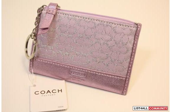 NEW~ Auth Coach SIGNATURE PINK MINI SKINNY WALLET KEY COIN