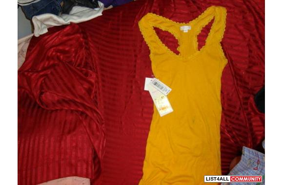 mustard yellow/orange lacey beater size xsmall brand new with tags att