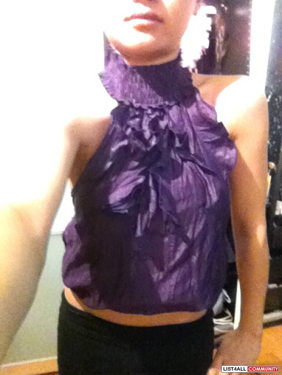 purple ruffle halter top aritzia