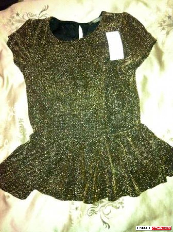Gold sparkly Peplum top size small BNWT
