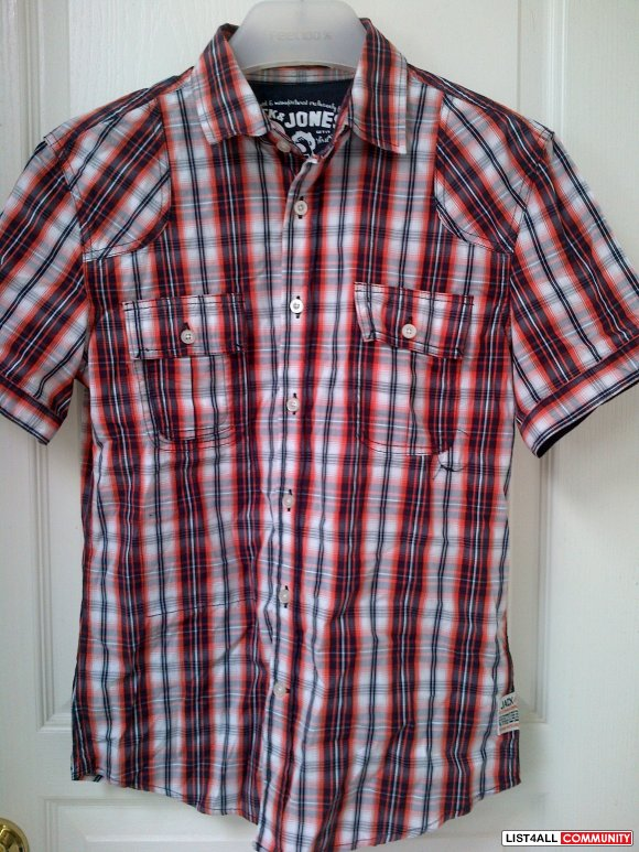 Jack & Jones short sleeve plaid BNWOT**