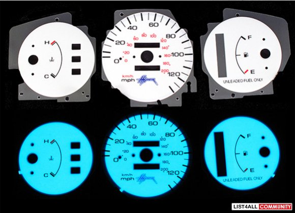 Used 1992-95 Honda Civic white face blue/green indiglo gauge faces
