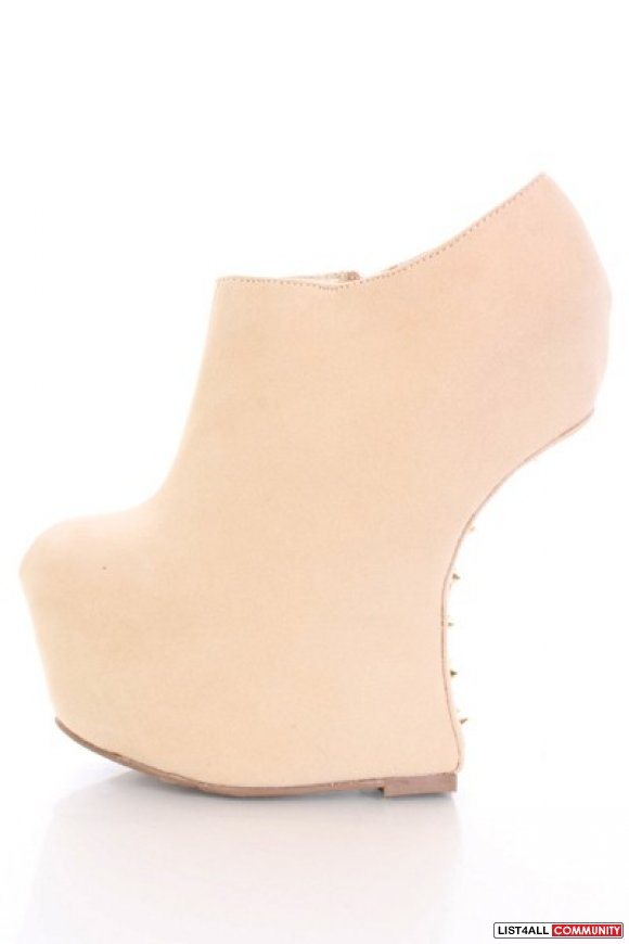 Beige Smooth Velvety Platform Spiked Curved Wedges
