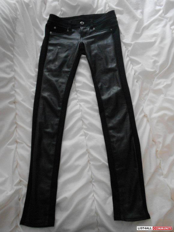 Black half leather half cotton skinny jeans from Guess