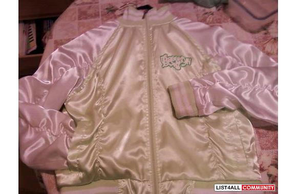 ♦Light Green & White silky touch zip up Jacket-♦