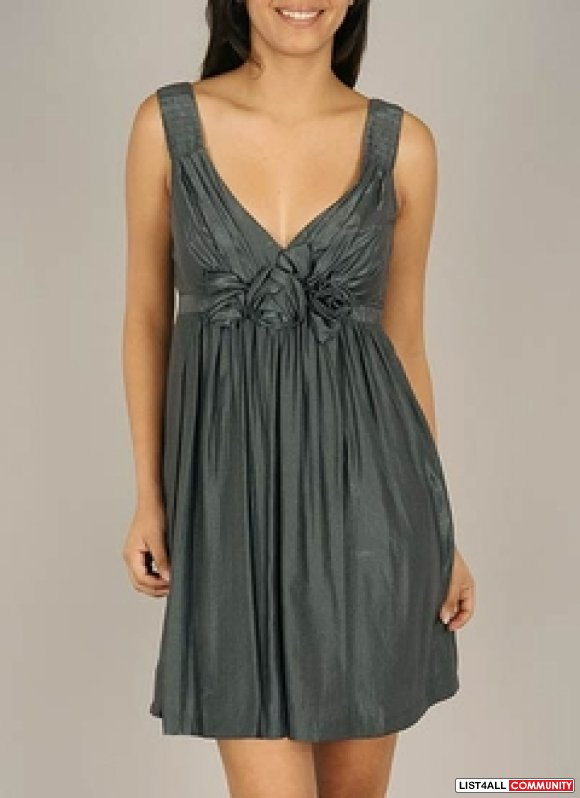 BNWOT BoughtOnline grey flowy silky dress