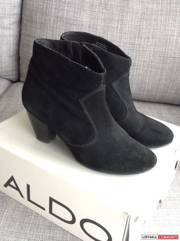 Aldo Genuine Suede Black Booties - size 7 (Worn Once)