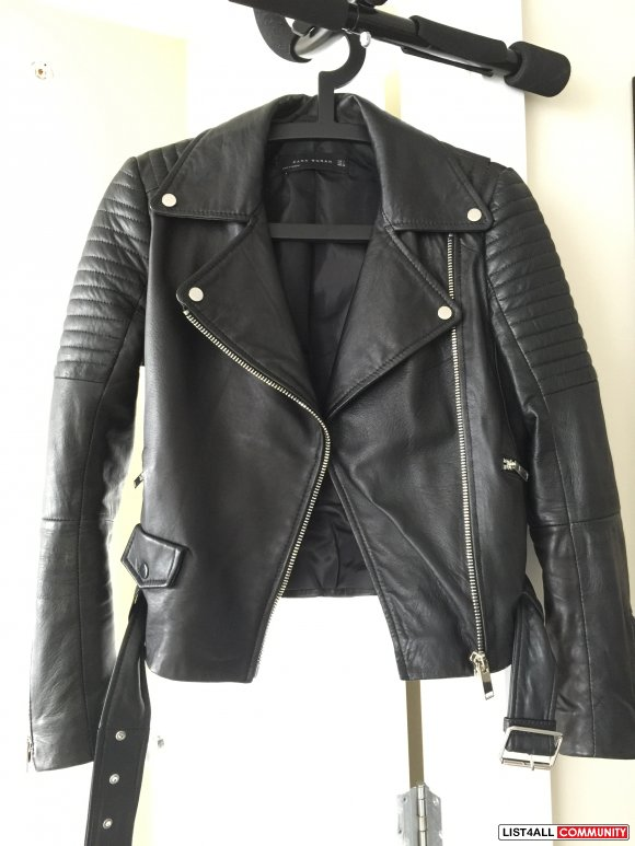 Zara Genuine Leather Jacket - Size S
