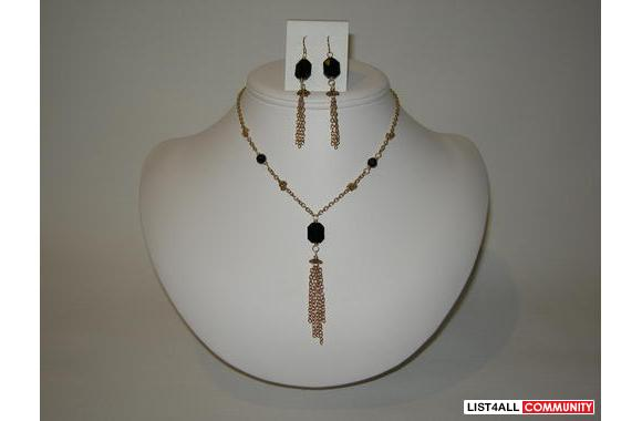 Black Swarovski Crystal long necklace and earring set