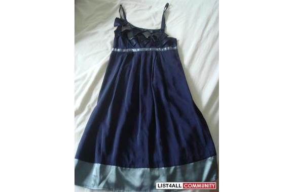 Flowy Navy with Silver Satin Trim Dress