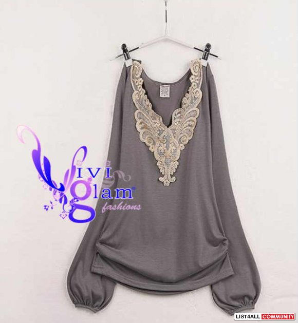 Gold Threading V Neck Top