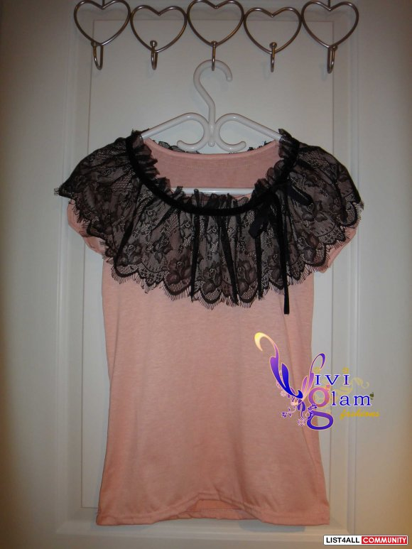 Lace T with Velvet Ribbon
