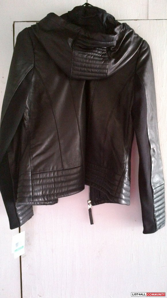 Michael Kors hooded leather bomber - NWT