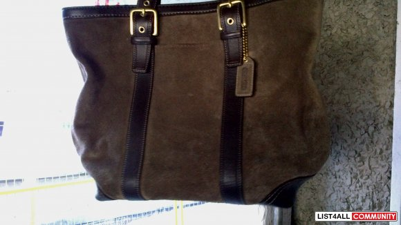 Coach brown suede bag
