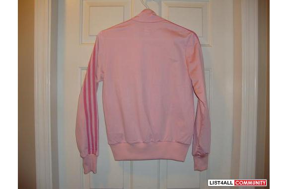 This is a brand new Womens PINK Adidas Jacket, old school style with t