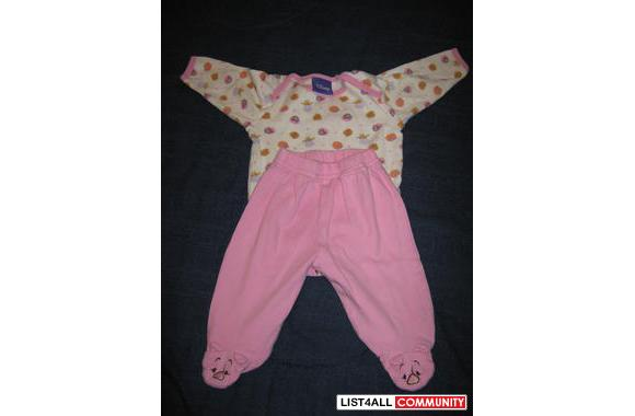 Disney Piglet outfit, top has all the characters, pants have feet with