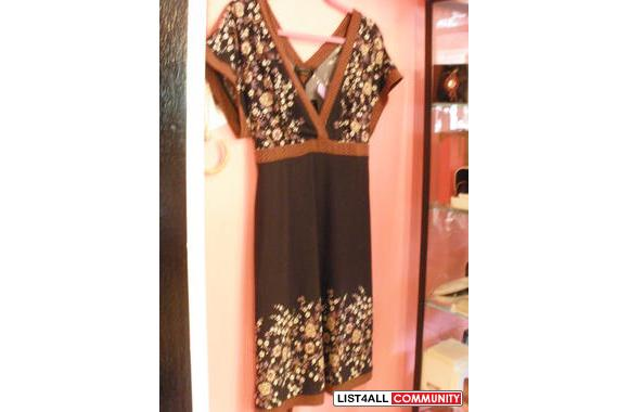 BCBG navy blue and brown print tie dress