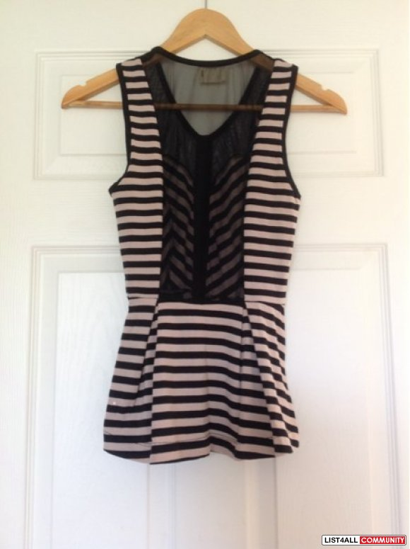 Urban Outfitters Stripped Peplum Top