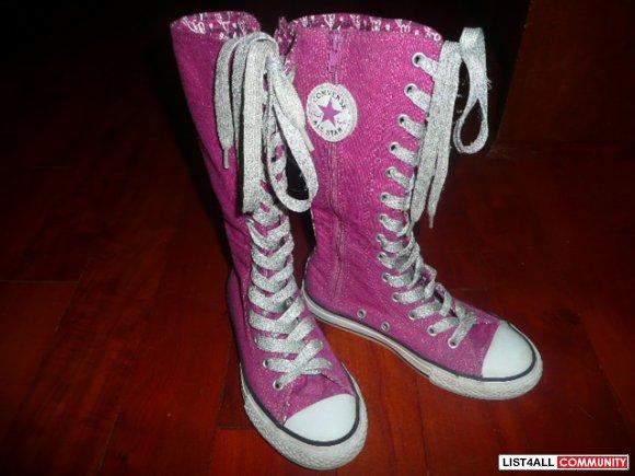 Converse X-hi s - Fuschia pink sparkly hi hi-top runners - sz  13 1 ... d3c5c90bb