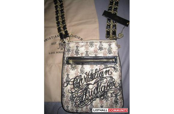 Christian Audigier Rhinestone and Initial Logo Sling Pack