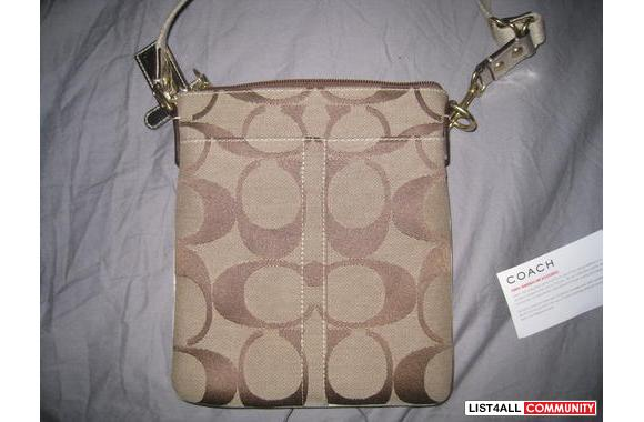 COACH Sling pack in Gold w/ Pink Interior