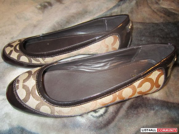 COACH Brown Flats in size 9 & 10