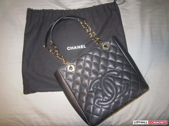 Authentic Black Chanel GST Shopping Bag in Caviar Leather
