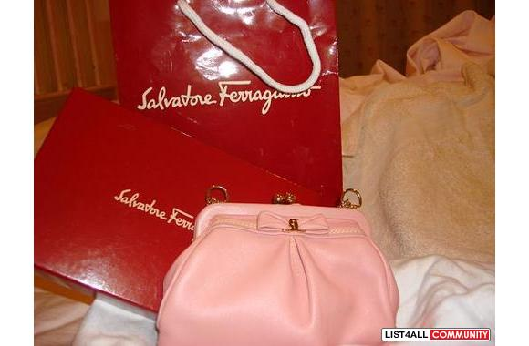 unique small pinky leather ferragamo bag bought in Hole Renfrew