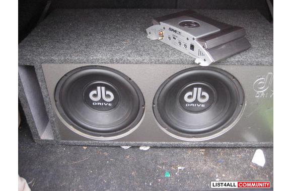 "Two 10"" DB Drive Sub Woofersin a Ported Sub Boxwith an amp"