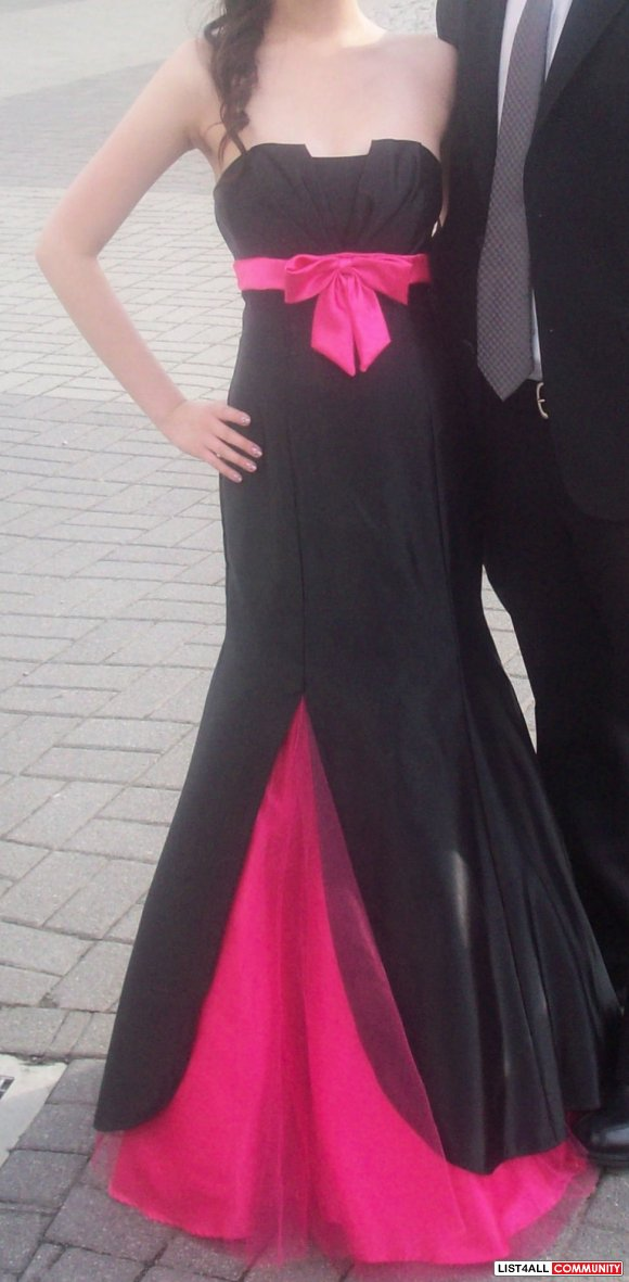 Laura black/hot pink satin/sash prom dress (size 2-4)