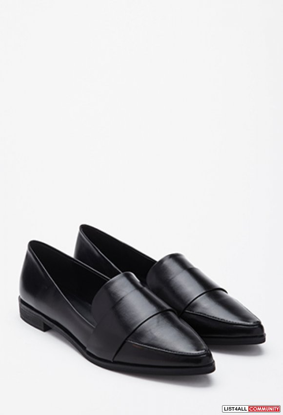 Forever 21 Faux Leather Pointed Loafers (36)