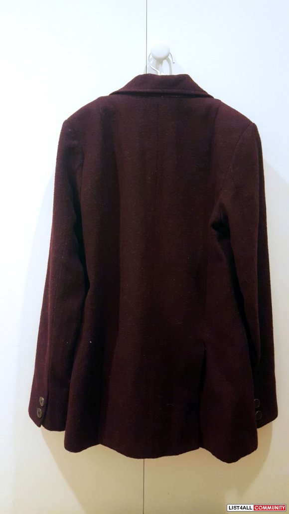 Love H81 Wool Maroon Pea Coat Jacket (S)
