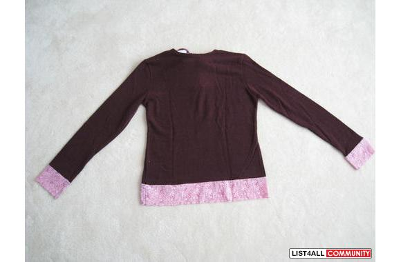 ***NWT Capiron Roots Burgundy W/ Pink Lace Sweater, Sz: M***