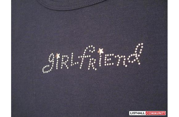 ***Casual Navy T-Shirt W/ Silver Beads, Sz: S***