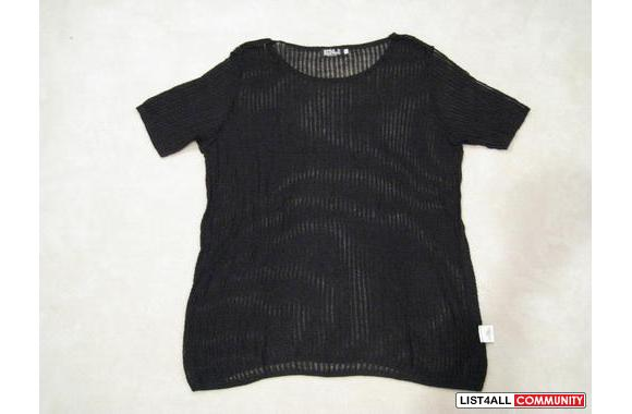 ***Black Knitted Round-Neck Blouse, Sz: L***