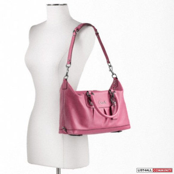 **NWT Authentic Coach Ashley Leather Satchel Dark Pink**