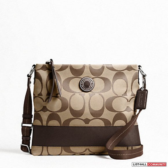 **NWT Coach Signature Stripe File Bag Brown**