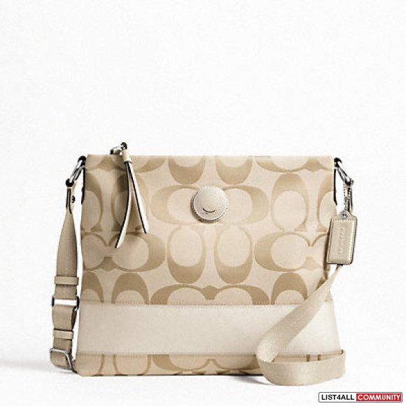 **NWT Coach Signature Stripe File Bag White**