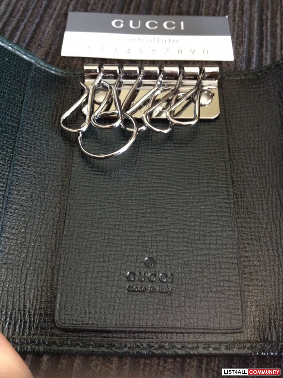 NWT Authentic Gucci Leather Key Chain Holder - Dark Olive Green