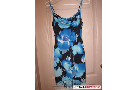 3 (from Zioni) Electric blue tropical floral jersey dress w/ spaghetti