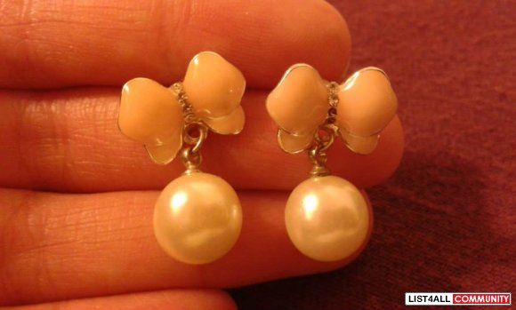 Butterfly and Pearl Earrings
